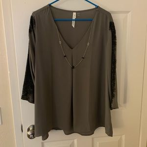 Perfect Holiday Lace Blouse - Gray